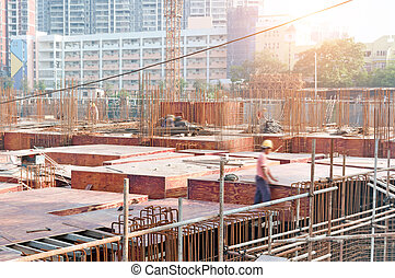 workers - building under construction with workers