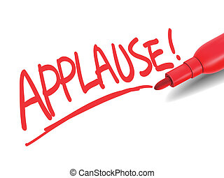 the word applause with a red marker over white