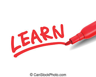the word learn with a red marker