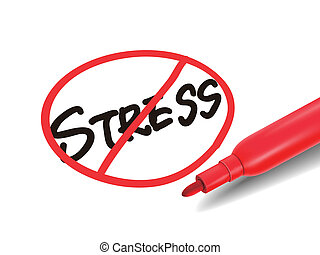 no stress word with a red marker