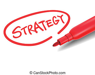 the word strategy with a red marker over white
