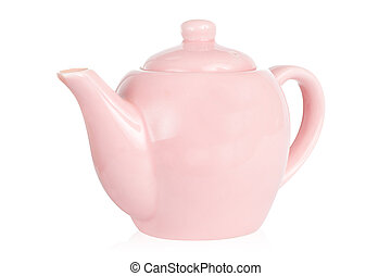 Cute pink teapot isolated against white with clipping path...