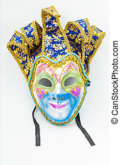 Colorful drama mask isolated with white background