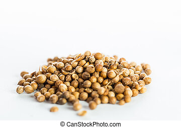 Coriander seed isolated with white background