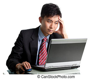 Troubled Asian businessman having a bad day and headache -...