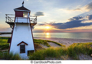Sunset at Covehead Harbour Lighthouse, PEI - Beautiful...