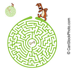 Vector Maze, Labyrinth with Dog - Vector Maze, Labyrinth...