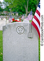 dog tags on veteran's grave - Military dog tags on veteran's...