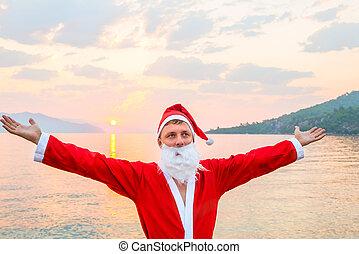 Santa Claus is enjoying summer vacation