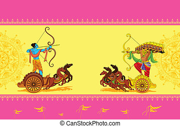 Rama killing Ravana in Happy Dussehra - vector illustration...