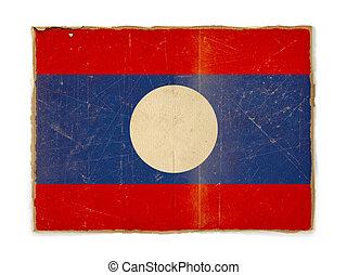 grunge flag of Laos