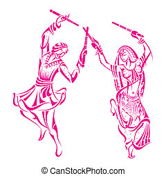 Man and woman dancing on Dandiya night - vector illustration...