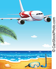 A beach with an airplane uphigh - Illustration of a beach...