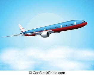 An aeroplane in the sky