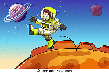 An astronaut in the outerspace - Illustration of an...