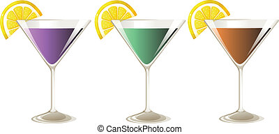Three glasses of cocktail drinks