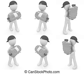 Set of 3d man carrying a water bottle with clean blue water...