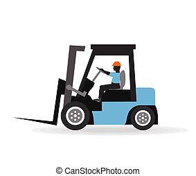 Loader with the worker A vector illustration