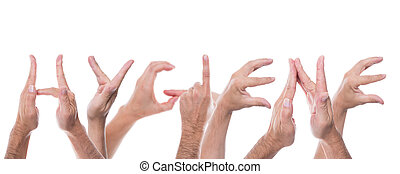 hands form the word hygiene - lot of hands form the word...