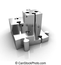 Concept of growth of gold puzzles on a white background