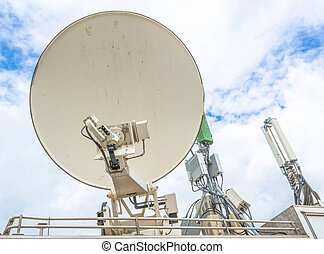 satellite dish and antenna on television car mobile image