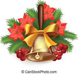 Christmas time composition with bell - Vector Christmas time...