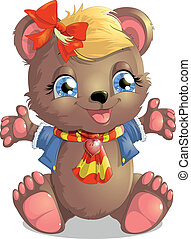 bear girl - beautiful cute Teddy bear in a scarf and jacket