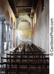 Euphrasian basilica in Porec, Croatia - Inside of Euphrasian...