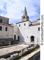 Euphrasian basilica in Porec, Croatia - Mosaic ruins and...