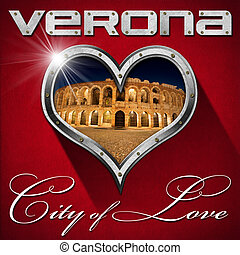 Verona - City of Love - Metal porthole heart shape with...