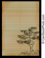 Japanese reed mat - Background - an ancient volumetric...