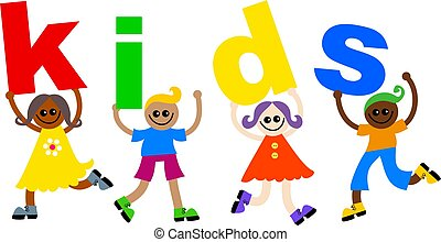 kids kids - A group of happy and diverse children holding up...