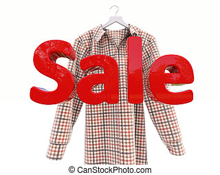 Sales and shirt on a light background