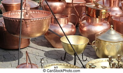 Brass and Copper Pots - Shiny handmade brass and copper...
