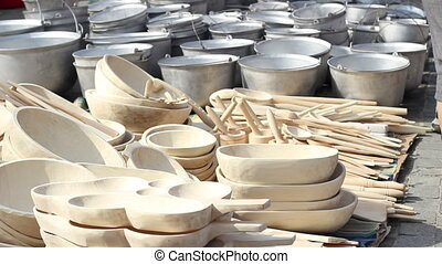 Handmade Wood Pots - Plates, spoons and wooden utensils made...