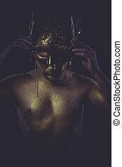 dorado, bodypaint, hombre, oro, casco, antiguo, guerrero,...