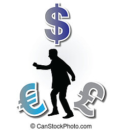 man running through the money