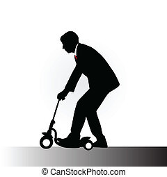 man in a suit driving kids scooter
