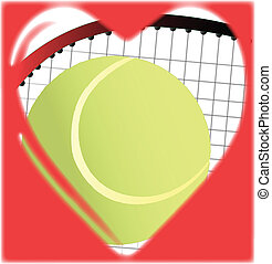 Love Tennis - A tennis ball and racket in a traditional...