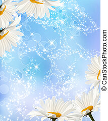 Daisy - Bouquet of daisies on blue sparkling background