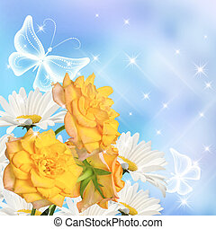 Flowers and butterflies - Daisy, yellow roses and...