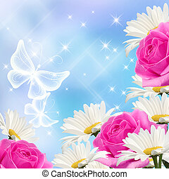 Flowers and butterflies - Daisy, pink roses and transparent...