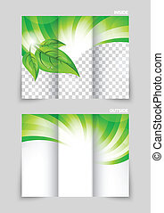 Tri-fold brochure template design with green wave and leaves