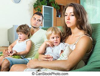 Sad parents after quarrel