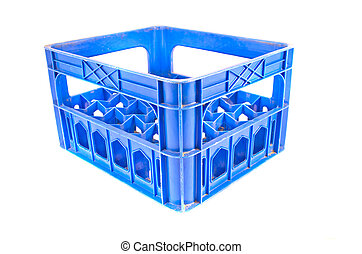 blue plastic storage box crate on a white background