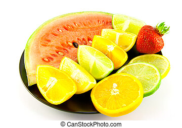 Watermelon with Citrus Wedges, Slices and Strawberry