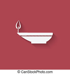 oil lamp red background