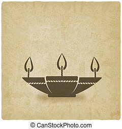 oil lamp old background - vector illustration eps 10