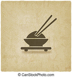 Asian food old background - vector illustration eps 10