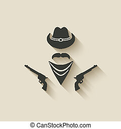 cowboy hat and gun - vector illustration eps 10